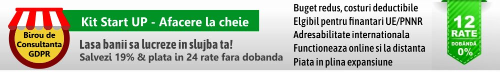 Profita de promotia lunii: 4000 lei discount + extra beneficii pentru Kit GDPR COMPLET COMPLEX 2020 format din 12 Kituri GDPR – peste 300 documente + Curs Incidente GDPR si Cybersecurity + gratuit alte 175 documente si software gratuit
