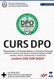 Curs GDPR formare DPO conform cod COR 242231 + Kit pt DPO + Schema Implementare GDPR conform prevederilor Regulamentul EU 679/2016 si Legea 190/2018