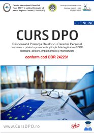 Curs DPO certificat GDPR conform cod COR 242231 + Kit pt DPO + Schema Implementare GDPR conform prevederilor Regulamentul EU 679/2016 si Legea 190/2018 conform cod COR 242231