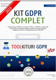 Noul Kit GDPR COMPLET 2019 format din 8 Toolkituri GDPR – peste 180 documente + gratuit 145 documente si software gratuit